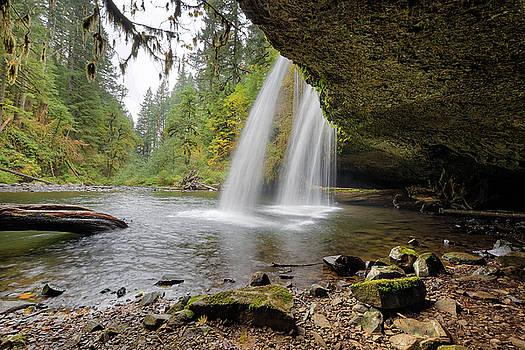Under Upper Butte Creek Falls in Autumn by David Gn