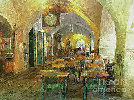 Underneath the arches - Street Cafe, Prague by Leigh Kemp