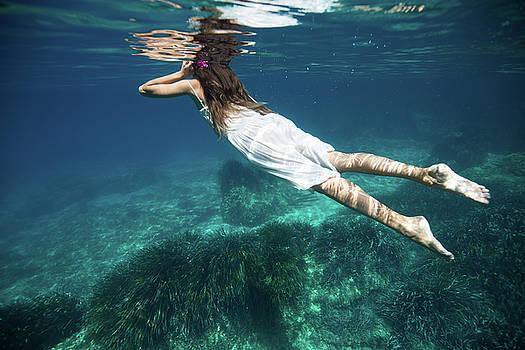 Underwater White Dress VI by Gemma Silvestre