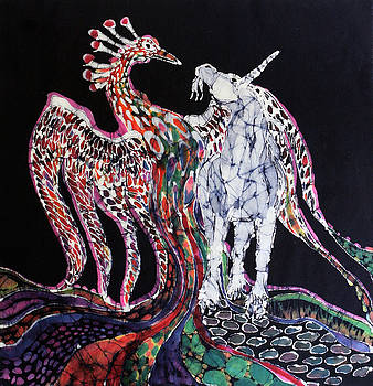 Unicorn and Phoenix Merge Paths by Carol Law Conklin