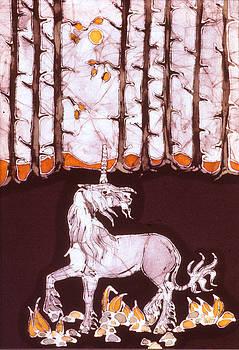 Unicorn Below Trees in Autumn by Carol  Law Conklin