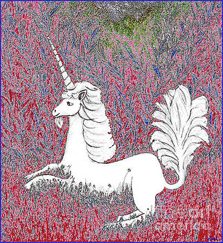 Unicorn in a Red Tapestry by Lise Winne