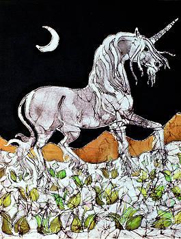 Unicorn Over Flower Field by Carol  Law Conklin
