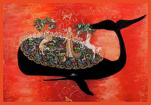Unicorn Tapestry - Birdbath by Theresa LaBrecque