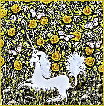 Unicorn with Yellow Flowers and Butterflies by Lise Winne
