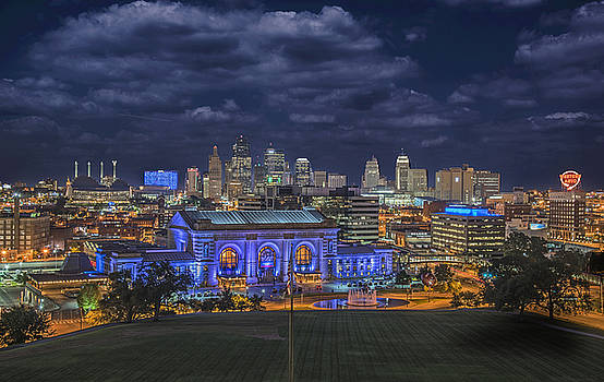 Union Station Kansas City and skyline night clouds by Roy Inman