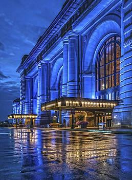 Union Station Kansas City blue rain by Roy Inman