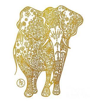 Unique Golden Elephant Art Drawing by Megan Duncanson by Megan Duncanson