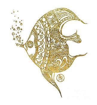 Unique Golden Tropical Fish Art Drawing by Megan Duncanson by Megan Duncanson