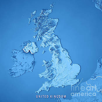 Frank Ramspott Artwork For Sale Munich Bavaria Germany - Topographic map of united kingdom