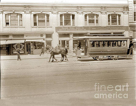 California Views Mr Pat Hathaway Archives - United Railroads streetcar in front of New Orleans Coffee Parlor San Francisco circa 1908