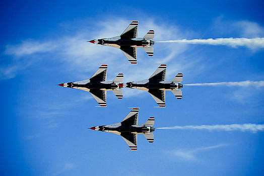 United States Air Force Thunderbirds in Diamond Formation by Zee Helmick