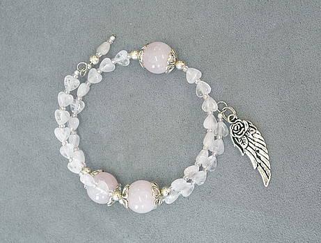Unity in Trinity TM Gratitude Bracelet of Moonstone and Rose Quartz by Michele Myers