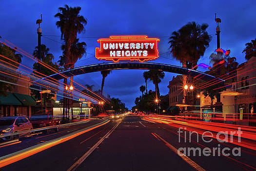 University Heights Neon Sign with Traffic Light Trails by Sam Antonio Photography