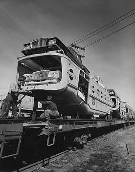 Chicago and North Western Historical Society - Unloading Car Rack - 1960