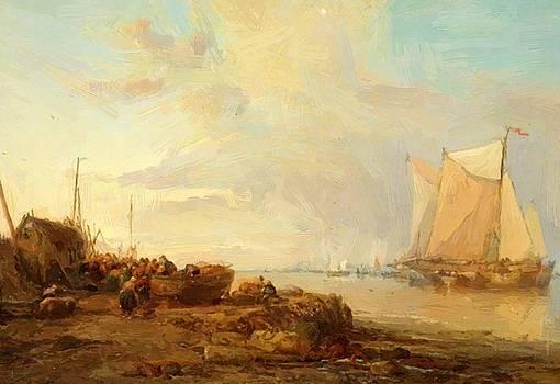 Webb James - Unloading Dutch Fishing Boats 1870