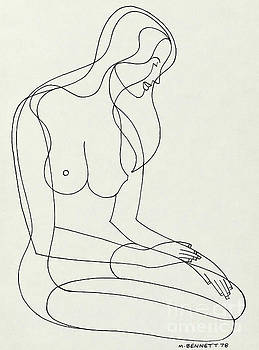 Untitled Seated Female Nude by Manuel Bennett