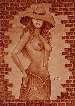 Unveiled Topless original coffee painting by Georgeta Blanaru