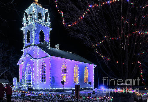 Upper Canada Village - Church with Christmas lights by Robert McAlpine