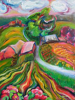 Upper Valley Road With Wild Rose ll by Karen Dawson