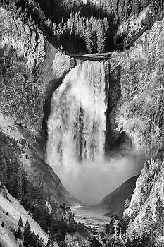 Upper Yellowstone Falls in Black and White by James BO Insogna