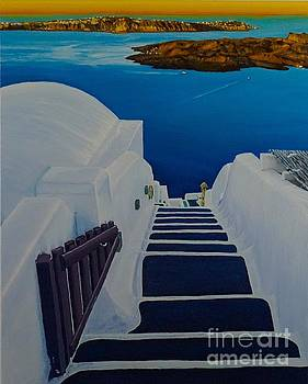 Upstairs Downstairs in Santorini Caldera by Mitzisan Art LLC