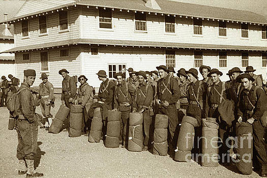 U. S. Army troops in Bonnie hats, Web Gear with bed roll's  circa 1942 by California Views Mr Pat Hathaway Archives