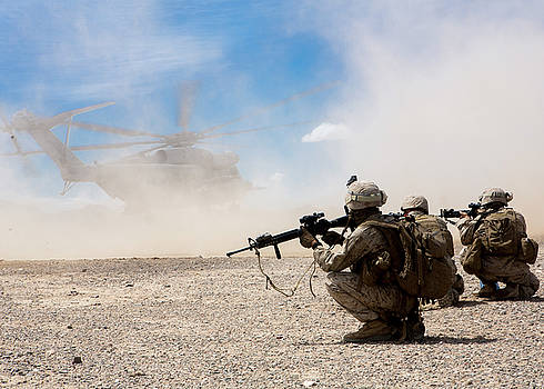 US Marines provide security during a CH53 day battle drill by Paul Fearn