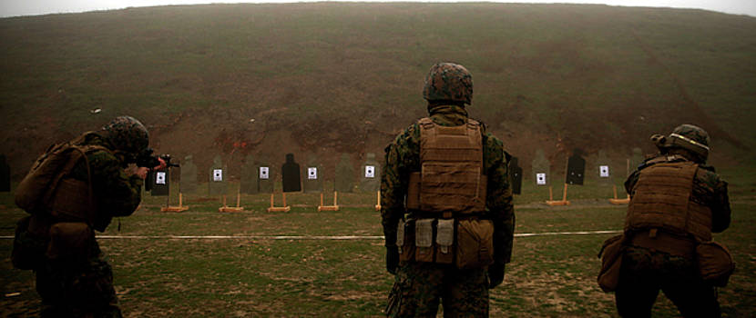 US Marines sight down range during combat marksmanship training by Paul Fearn