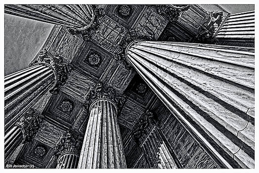 US Supreme Court columns black and white. by Bill Jonscher