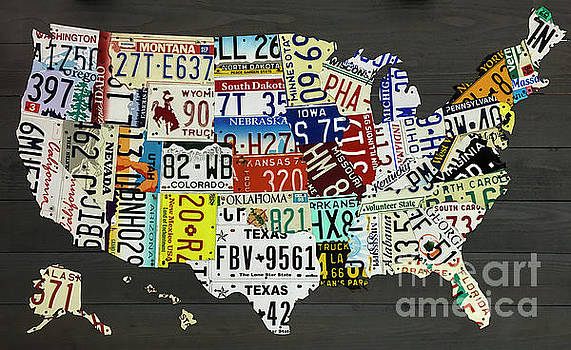 Dale Powell - License Plate Map of the United States on Gray Wood Boards