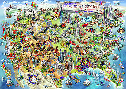 Maria Rabinky - USA Wonders Map Illustration