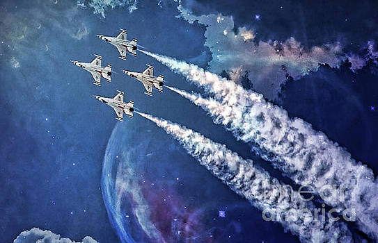 USAF Thunderbirds Diamond Formation by Mary Lou Chmura