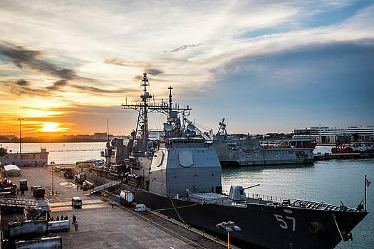 USS Lake Champlain CG57 moored pierside in Singapore by Paul Fearn