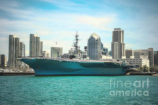 USS Midway Museum Cv 41 Aircraft Carrier - COLOR by Claudia Ellis