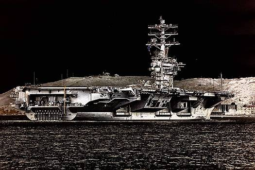 USS Nimitz aircraft carrier leaving the port of San Diego  by Paul Fearn