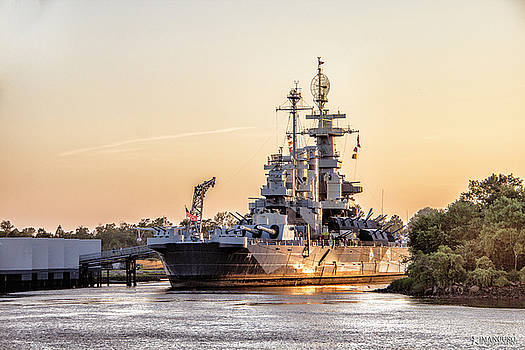 USS North Carolina Sunset by Phil Mancuso
