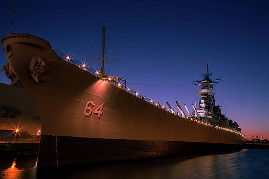 USS Wisconsin Sunset by John Daly