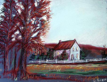 Utah Farmhouse Dusk by George Grace
