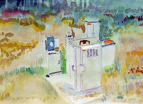 Utility boxes near a forest by Paul Thompson