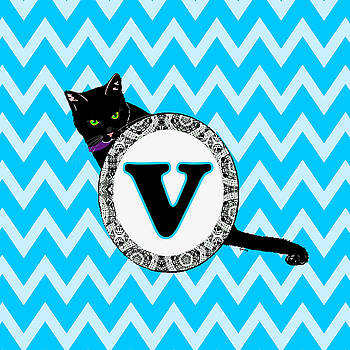 V Cat Chevron Monogram by Paintings by Gretzky