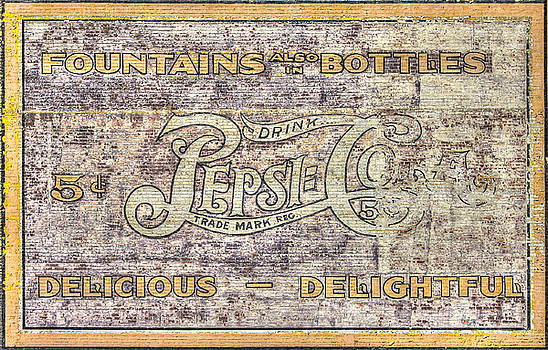 VA Country Roads - Vintage Pepsi Cola Wall Mural - South Jefferson and Church Ave. SW, Roanoke, VA by Michael Mazaika