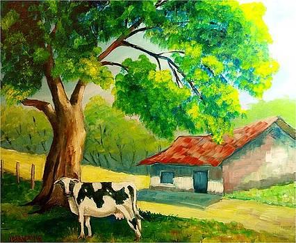 Vaca en el prado by Jean Pierre Bergoeing