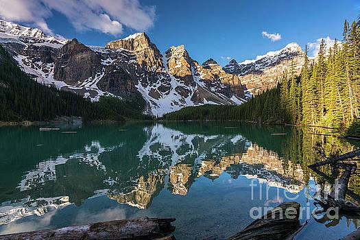 Valley of the Ten Peaks Lake Moraine by Mike Reid