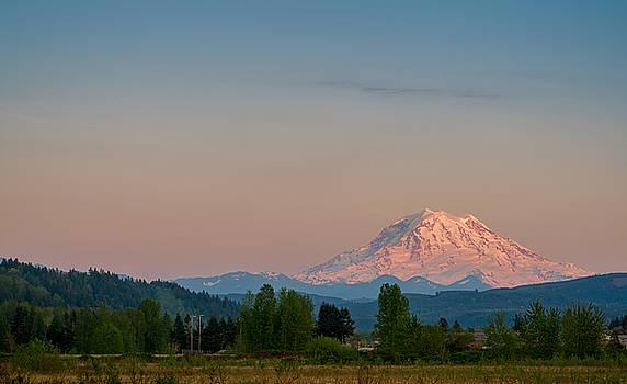Valley Sunset of Mt Rainier by Ken Stanback