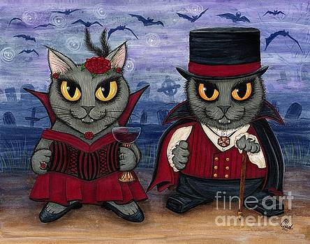 Vampire Cat Couple by Carrie Hawks