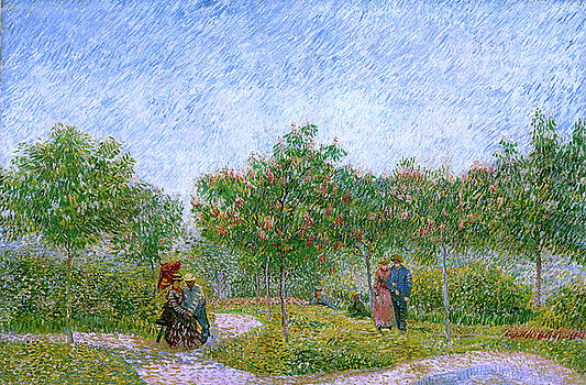 Van Gogh Garden in Montmartre with Lovers by Vincent Van Gogh