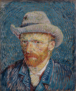 Van Gogh Self Portrait Grey Felt Hat by Vincent Van Gogh