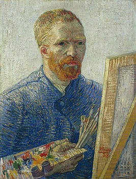 Van Gogh Self Portrait in Front of Easel by Vincent Van Gogh