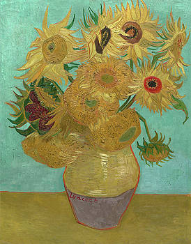 Van Gogh Vase with Twelve Sunflowers  by Vincent Van Gogh